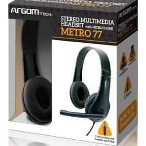 Audifono ARGOM ARG-HS-0077 con microfono Stereo Headset Metro 77/C.Volumen