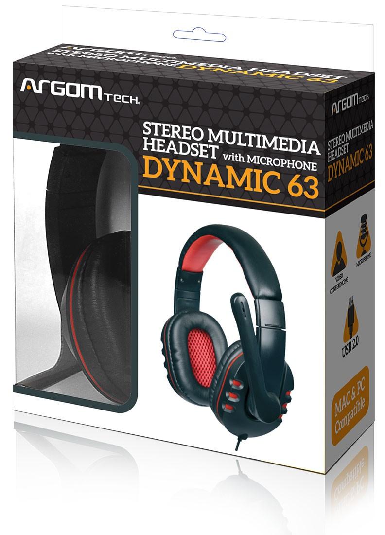 Audifono ARGOM ARG-HS-0063 con microfono Stereo Headset Dynamic 63/C.Volumen