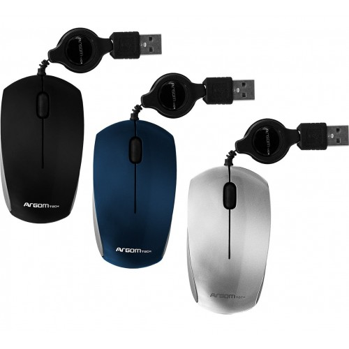 Mouse Optico Retractil USB Azul