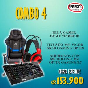 Combo 4 tecnologico, silla gamer, audífonos y teclado